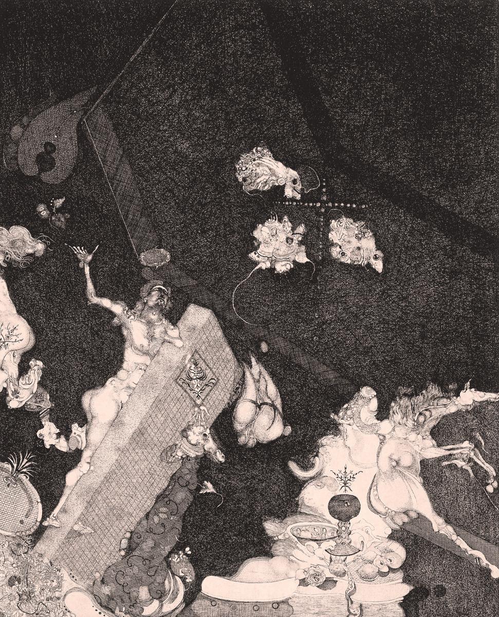 Vladimir Gazovic, Altar Wine, 1968, etching.