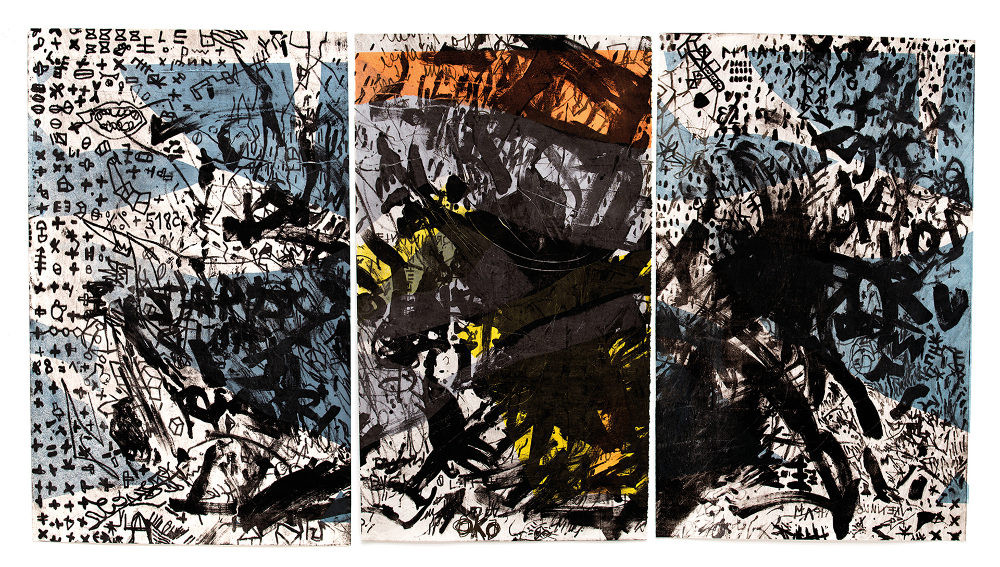 a three-piece monotype The Skin I Have Been Living In by artist Ewa Budka, 2014, mokulito (lithograph from wood)
