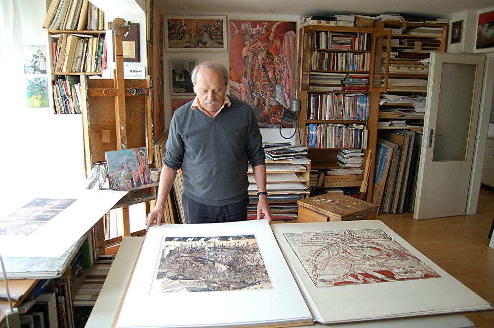 Slovak printmaker Dusan Kallay at his home in Bratislava. Photograph by Katerina Kyselica