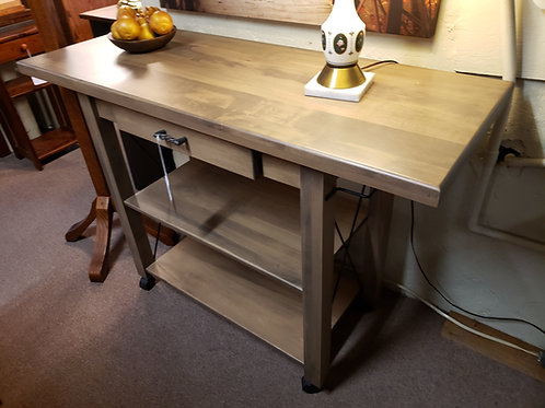 """Brown Maple Transitional Butler 1 1/2"""" Thick Top on Castors (Husk)"""