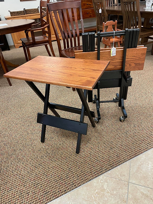 Pair of Oak Folding Tables and Rolling Stand (Michael's and Onyx)