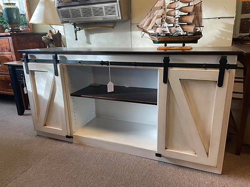 "Poplar 62"" Barn Door TV Stand (Cocoa White and Rich Tobacco)"