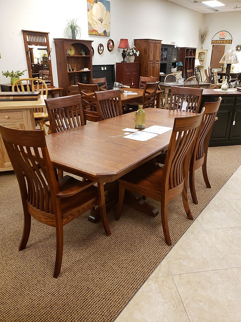 Oak Mission Double Pedestal Table and Chair Set (Michael's)