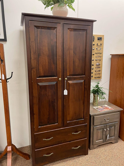 """Brown Maple """"Manchester"""" Wardrobe with 2 Drawers (Rich Tobacco)"""