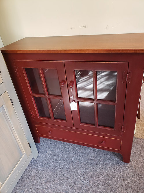 Pine Bookcase with Wormy Maple Top and Glass Doors (Red and Cherry)