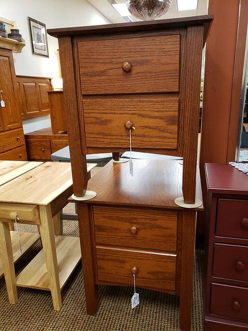 "Set of 2 Oak ""Linwood"" 2 Drawer End Table (Michael's)"