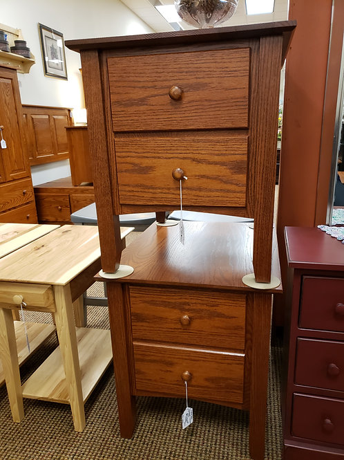 """Set of 2 Oak """"Linwood"""" 2 Drawer End Tables (Michael's)"""