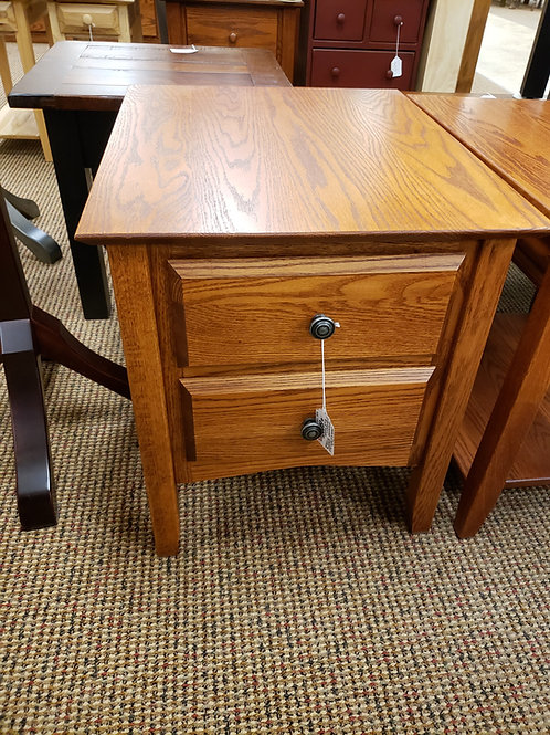 """CLOSEOUT """"Linwood"""" Style 2 Drawer End Table with Beveled Drawers (Harvest)"""
