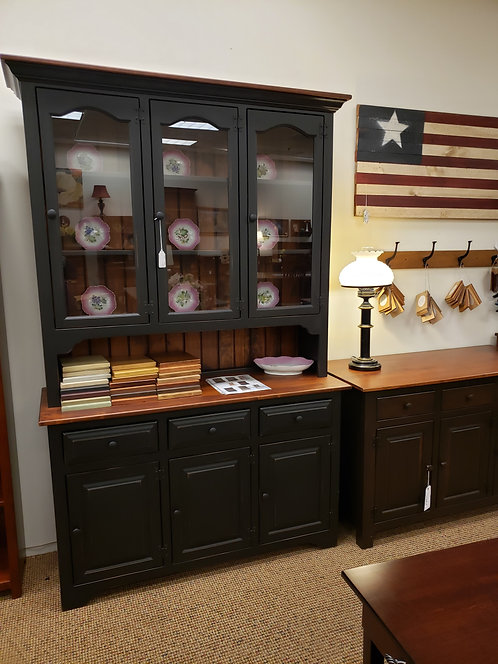Pine 3 Door Hutch with Wormy Maple Top and Glass Doors (Black and Cherry)