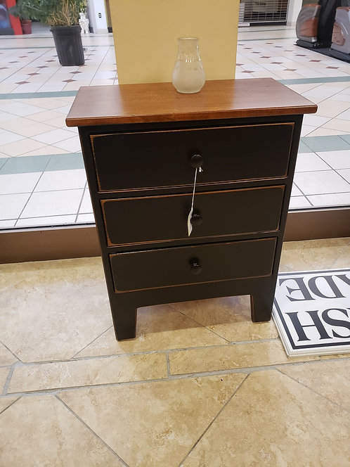 Pine 3 Drawer Night Stand with Wormy Maple Top (Black and Cherry)