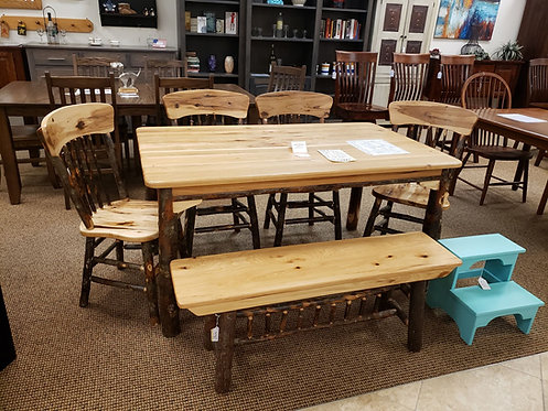 Rustic Hickory (with bark) Table and Chair Set (Natural)