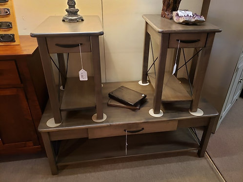 """Brown Maple """"Crossway"""" Coffee and End Table Set (Smoke)"""