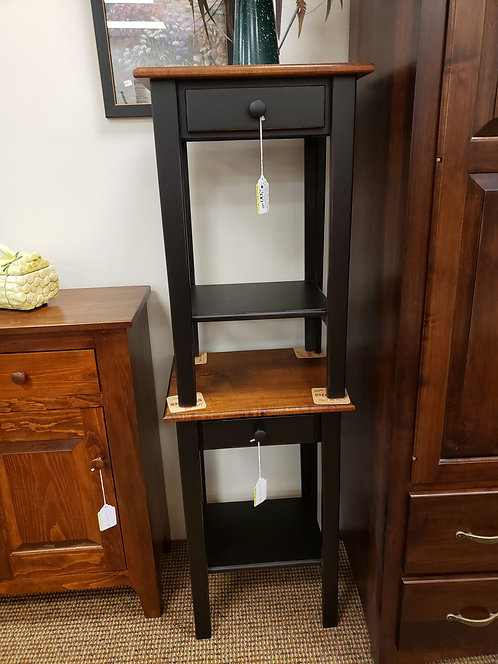 Pine 1 Drawer End Table Set with Wormy Maple Top (Black and Michael's)
