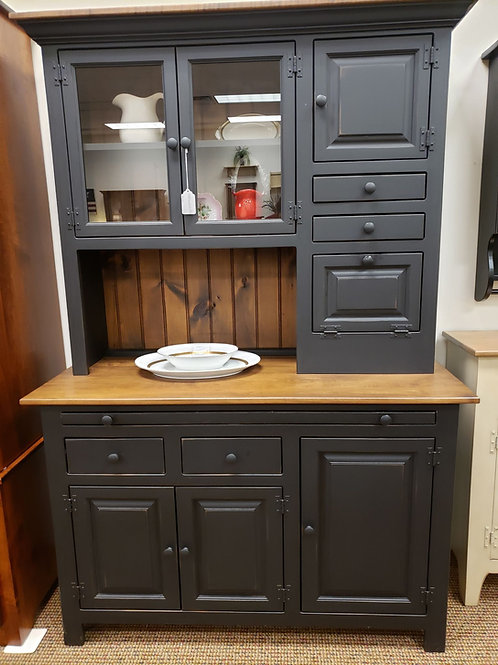 Pine Medium Hoosier Cabinet with Wormy Maple Top (Black & Special Walnut)