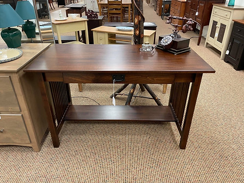 Brown Maple Mission Style Desk with Flip Down Keyboard Drawer (Rich Tobacco)
