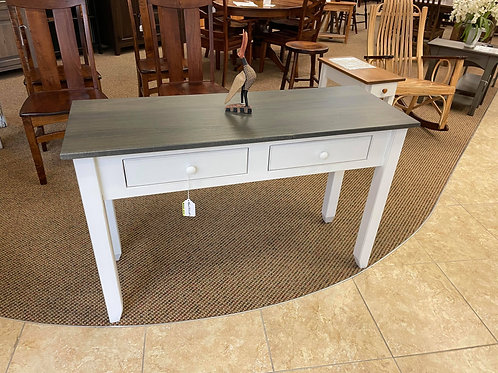 Poplar Hall Table with Drawers (Antique Slate and White)