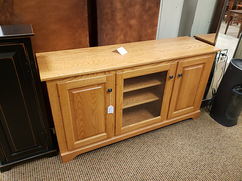 "Oak 57"" TV Stand with Glass Center Door (101S2 Stain)"