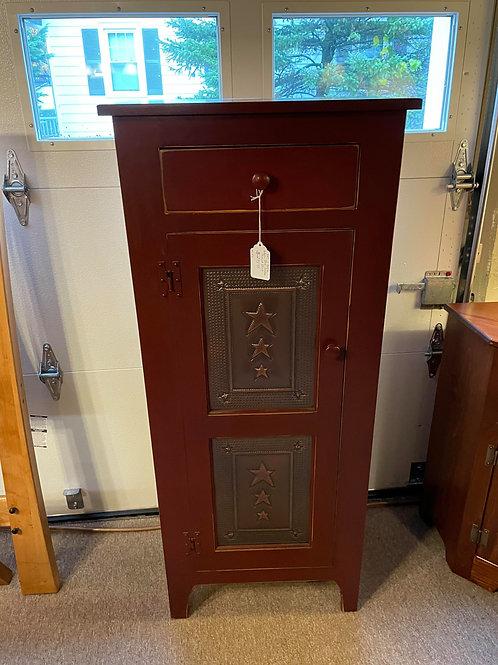 Pine One Door High Pie Safe with Tin Door (Red and Cherry)