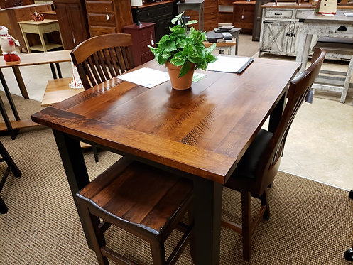 """Brown Maple """"Western Plank"""" Solid Top Pub Set (Michael's and Black)"""