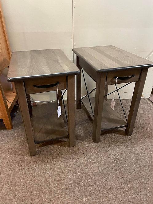 "Brown Maple Pair of ""Crossway"" Chair Side Tables (Smoke)"
