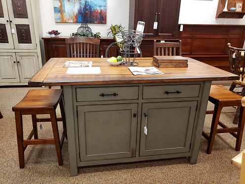 Brown Maple Antiqued Ancient Mission Kitchen Island (Michael's and Green)