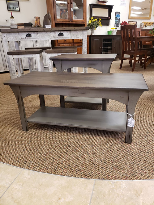 "Antiqued Brown Maple ""Monarch"" End and CoffeeTables (Grey and Smoke)"