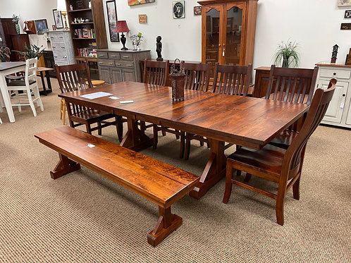 Rustic Cherry Barn Floor Plank Table and Chair Set (Michael's)