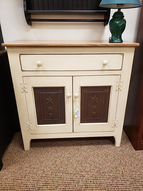 Pine 2 Door Low Cabinet with Wormy Maple Top (Cream and Light Walnut)