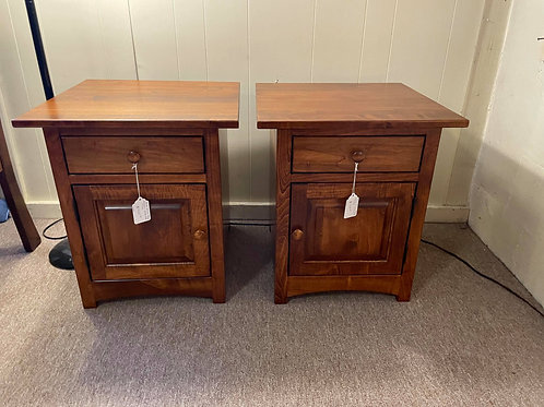 Brown Maple Set of 2 Shaker 1 Door End Tables (Michael's) (DISCONTINUED)