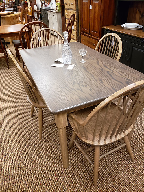 Oak Solid Top Table and Chair Set (Two Tone Husk and Smoke)