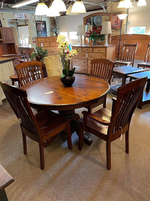 Rustic Cherry Standard Pedestal Table and Chair Set (Michael's)