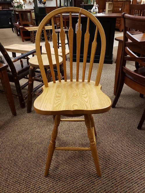 Oak 7 Spindle Colonial Arrow Back Swivel Barstool (Golden)