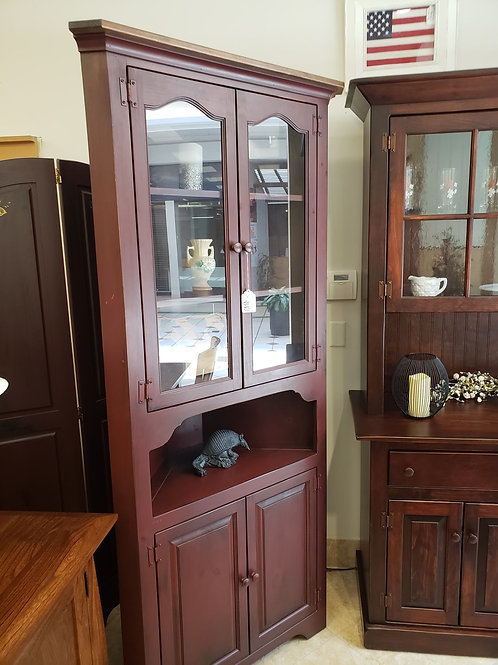 Pine Large Corner Cupboard  with Glass Doors (Red and Special Walnut)