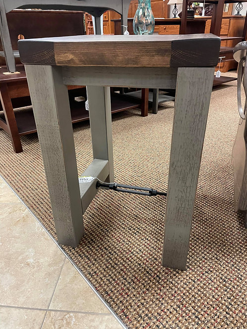 Rustic Pine Turnbuckle End Table with Thick Top