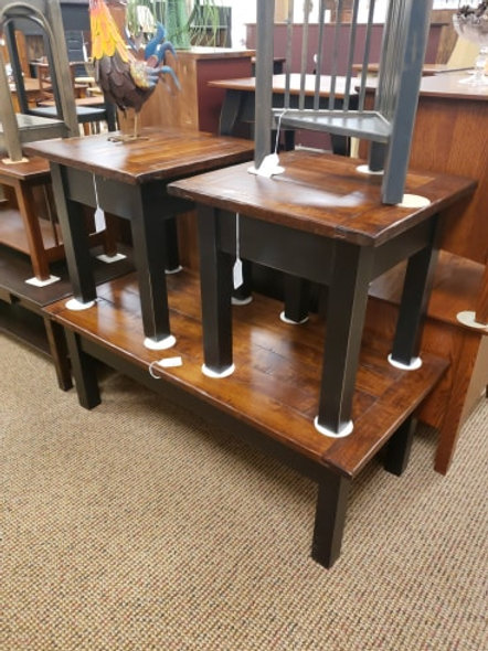 Pine and Planked Wormy Maple Top Coffee and End Table Set (Black and Michael's)
