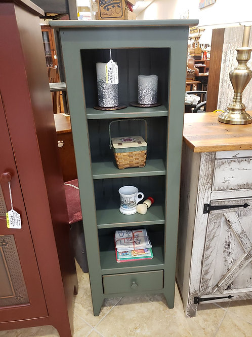 Pine Chimney Cupboard with Drawer (Green)