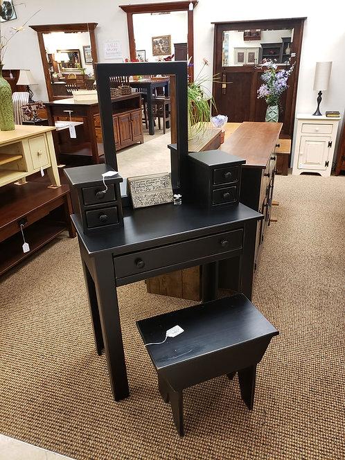 Pine Vanity and Bench (Black) (Last One)