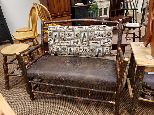 """Hickory Deacon's Bench with """"Rawhide"""" and Fabric Upholstery (Bark)"""