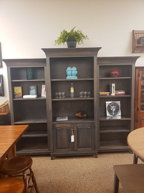 """Brown Maple """"Henry Stephens"""" Three Piece Bookcase (Antique Slate)"""