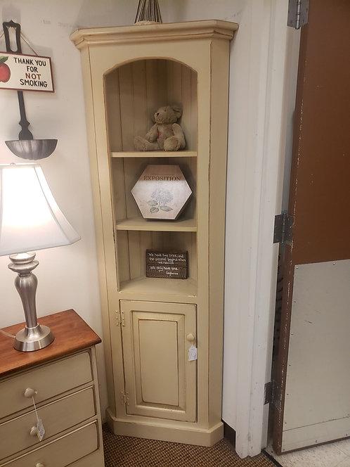 Pine Tall Corner Cabinet with Door on Bottom (Cream)