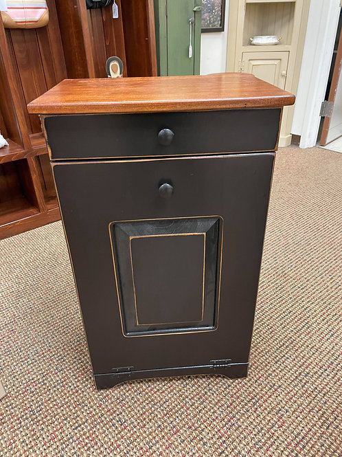 Pine Trash Bin with Wormy Maple Top and Raised Panel Door (Black and Cherry)