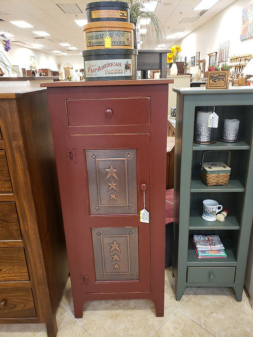 Pine 1 Door Tall Pie Safe with Copper Tin and Drawer (Red and Cherry)
