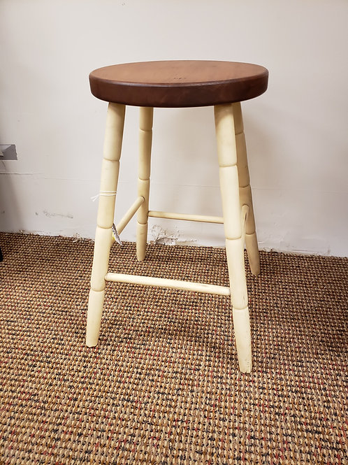 Wormy Maple Turned Leg Stool with Flat Seat (Cream and Cherry)