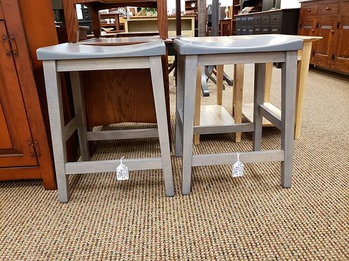"""Brown Maple Pair of """"Coby"""" Stools (Pewter)"""