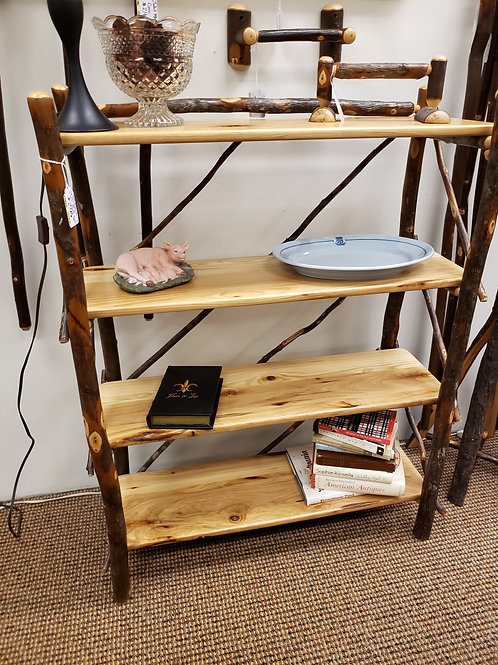 Hickory 3 Foot Wide 4 Tier Bookcase (Bark) (Natural)