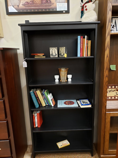 "Oak Tall ""Mission"" Style Bookcase (Painted Black)"