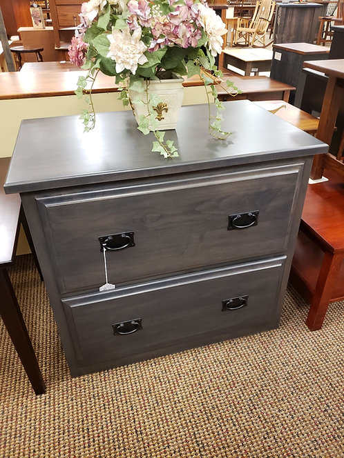 Brown Maple Lateral File Cabinet with Raised Panel Sides (Antique Slate)