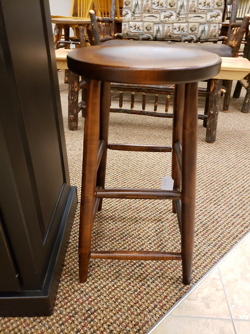 Brown Maple Straight Leg Stool with Scoop Seat (Michael's)
