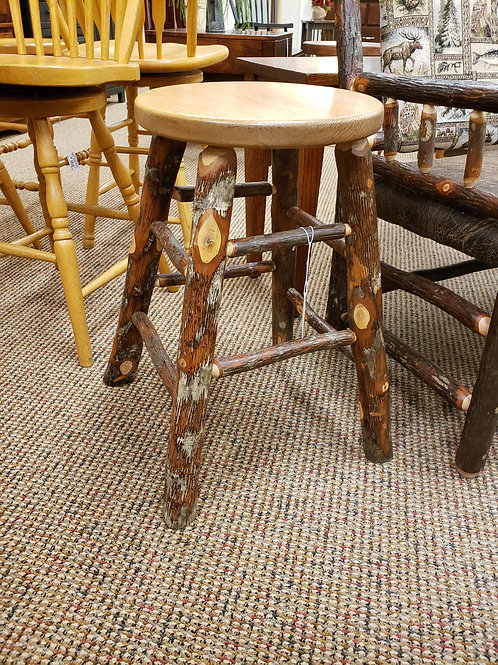 Hickory (with bark) Stool (Natural)