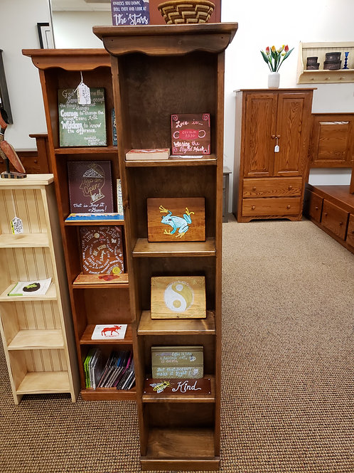 Pine Narrow Bookcase/CD and DVD Stand (Walnut) (Last One)